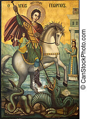 Icon of St George and the Dragon - Religious icon in St...