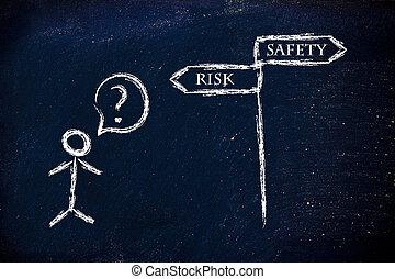 affär,  choices:, riskera, säkerhet, eller