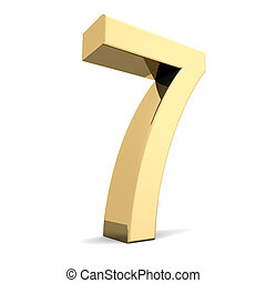 Golden number 7 - Collection of golden numbers on a white...