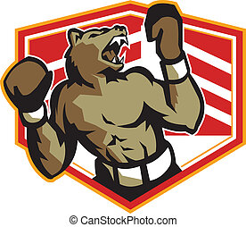 Angry Bear Boxer Boxing Retro - Illustration of an angry...