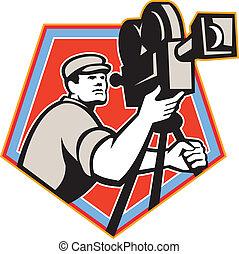 Cameraman Vintage Film Reel Camera Retro - Illustration of a...