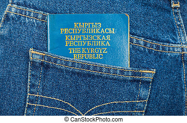 Kyrgyz Republic passport in the back jeans pocket