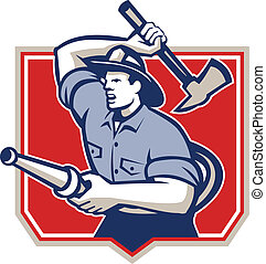 Fireman Firefighter Wielding Fire Axe - Illustration of a...