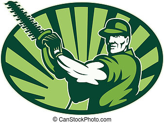 Gardener Landscaper Hedge Trimmer Retro - Illustration of...