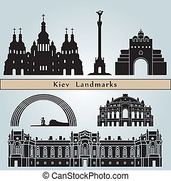 Kiev landmarks and monuments isolated on blue background in...