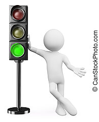 3D white people Green traffic light - 3d white people Man...