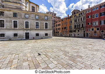 Small Town Square in Venice, Italy. Sumemr photo
