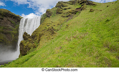 Skogafoss waterfall - Bottom view of Skogafoss waterfall on...