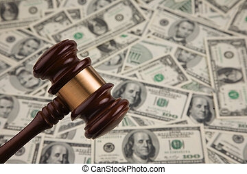 Dollar Bills and gavel - Money from the United States of...