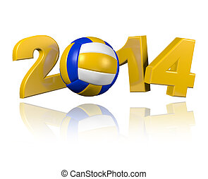 Beach Volleyball 2014 design with a White Background
