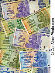 Banknotes of Zimbabwe including a banknote of one hundred...
