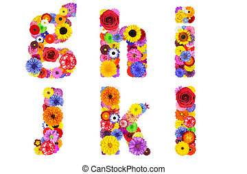 Floral Alphabet Isolated on White - Letters G, H, I, J, K, L...