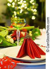 Christmas tree and dinner table