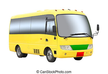 Yellow tourist mini bus on white background