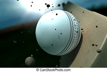 Cricket Ball Striking Bat With Particles At Night - A white...