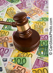 European money and gavel