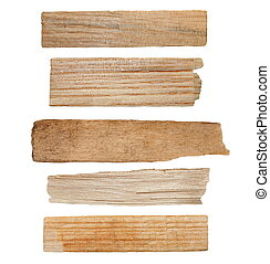 pieces of broken planks isolated