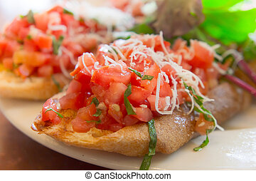 Wheat bruschetta with diced tomato salsa
