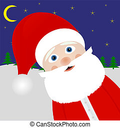 Santa Claus peeking out of the woods