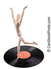 mannequin dancing on vinyl disc - wooden mannequin dancing...