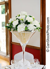 Wedding reception floral arrangment - White floral...