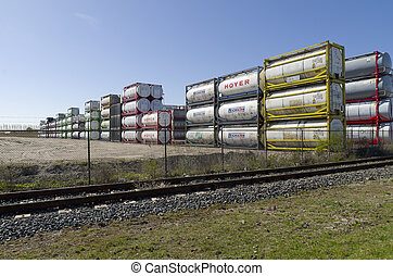 bulk tanks - Area with chemical bulk tanks in Rotterdam,...
