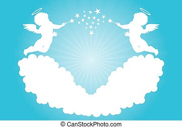 Cherubs - Cupid silhouette - Illustration