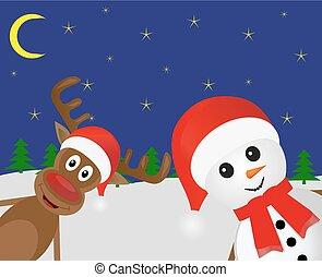 Christmas deer and snowman