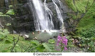 bathing in a waterfal