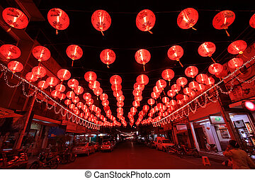 chinese red lanterns - chinese new year celebration in Had...