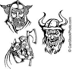 viking heads - Set of viking heads Black and white vector...