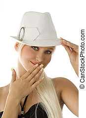 girl and white fedora - lovely portrait of pretty blond with...