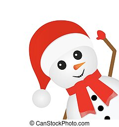snowman looks right on a white background