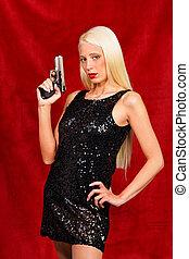 mulher, noite, Vestido, desenhado, arma
