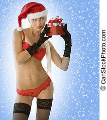 sensual christmas in red - sensual blond in red lingerie...