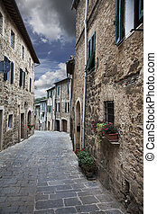 Ancient alleyway (Montalcino. Tuscany, Italy) - Ancient...