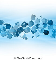 Blue Abstract Background,Cube 3D,Blue Technology