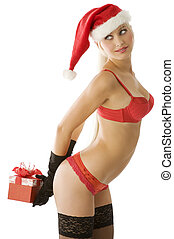 sexy christmas in red - sexy blond in red lingerie with hat...