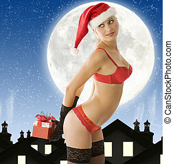 sexy christmas in red - sexy christmas blond in lingerie...