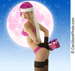 sexy christmas girl in pink - cute young blond santa claus...