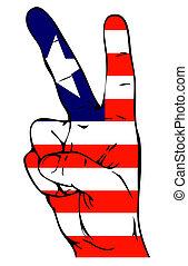 drapeau, paix, Libérien, signe