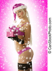 sexy christmas in red - sensual blond in lingerie gloves and...