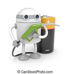 robot, enchufe, batería