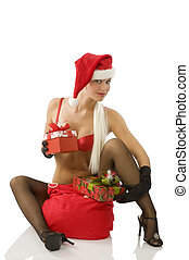 the christmas beg - beautiful blond santa claus with sack...