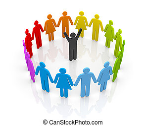 Circle of people with leader