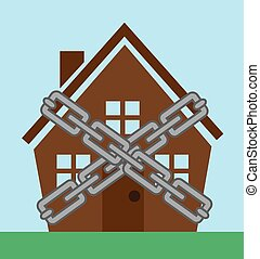 House Chains  - House enclosed in metal chains