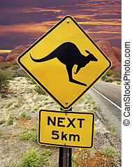 Kangaroo Warning Sign - Australian Outback - Kangaroo...