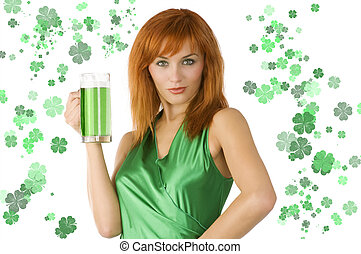 saint patrick girl - redhead Irish Lass posing in green...