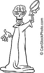 skeleton cartoon for coloring book - Black and White Cartoon...
