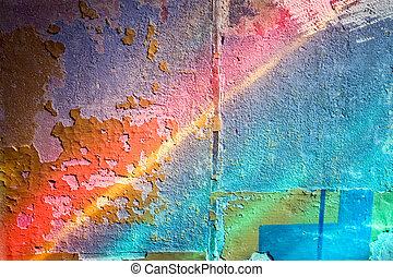vägg, färgrik, bakgrund